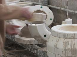 Extracción de piezas de los moldes